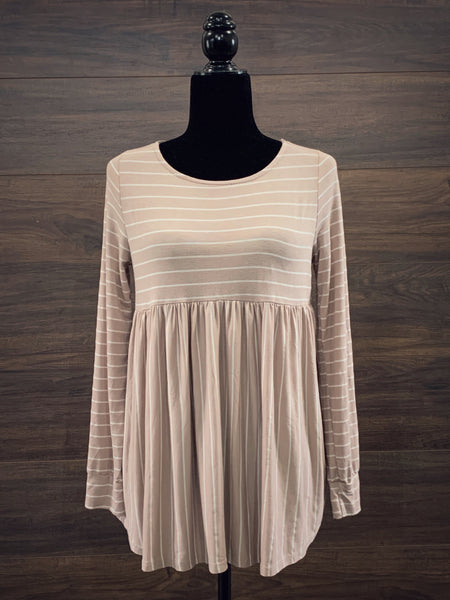 Taupe Babydoll Long Sleeve Top