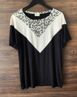 Leopard Colorblock Short Sleeve Top