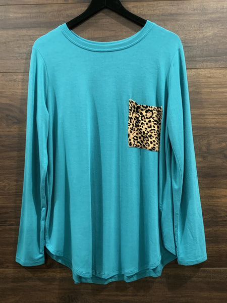Dusty Teal Leopard Long Sleeve Top