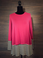 Magenta Stripe Long Sleeve Top