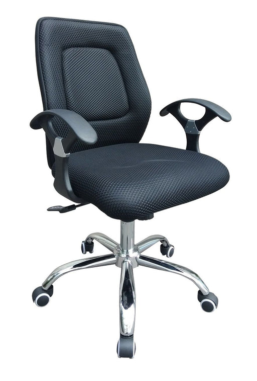 Midback Fabric/Mesh Swivel Office Chair with Armrest, Black