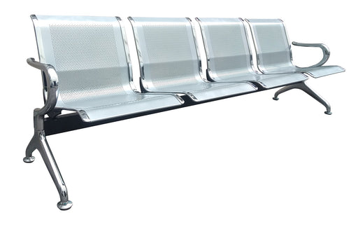 4 Seater Airport Gang Chair, Metal Stainless Steel