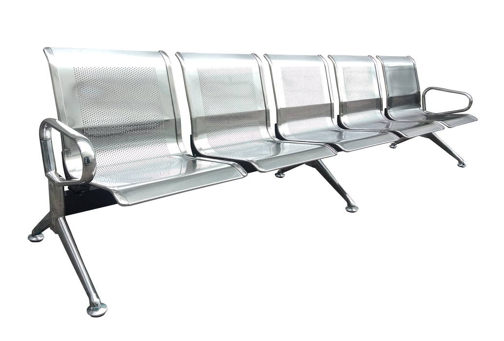 5 Seater Airport Gang Chair, Metal Stainless Steel