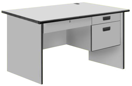 Modern Office Table with Center and 2 Side Drawers without Lock, PVC Edge, Light Grey Color