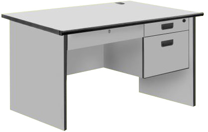 Modern Office Table with Center and 2 Side Drawers with Lock, PVC Edge, Light Grey Color