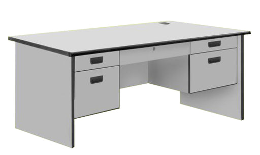 Modern Office Table with Center and 4 Side Drawers, PVC Edge, Light Grey Color