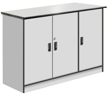 3-Swing Door Credenza, Light Grey Color