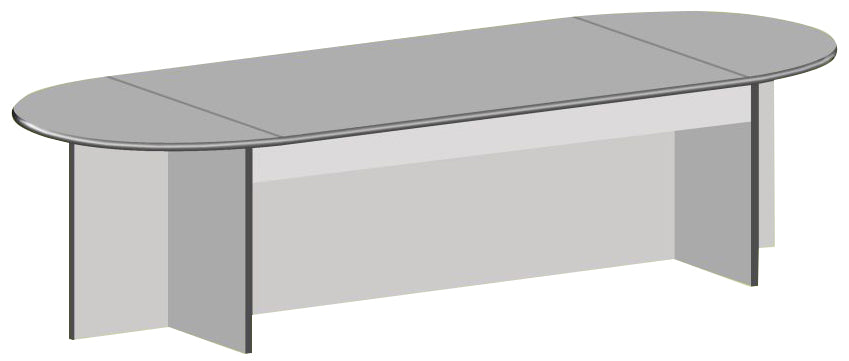 Oval Laminated Meeting Table in Panel Legs for 8-10 Pax, Light Grey Finish