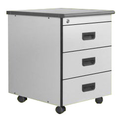 3 Drawer Mobile Pedestal in Light Grey Laminated Finish with Central Lock, Flush Handle