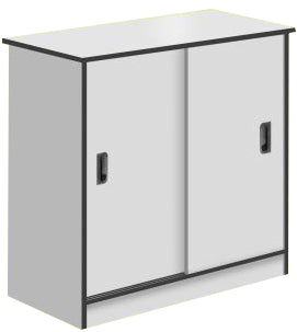 2-Sliding Door Cabinet, Light Grey Color