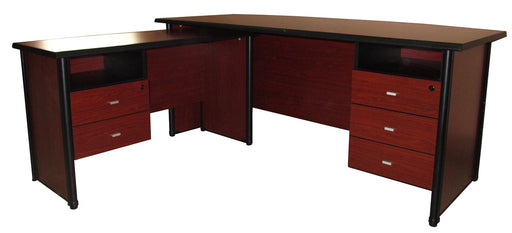 Executive Bow Shaped Desk with Side Table, Cherry Walnut