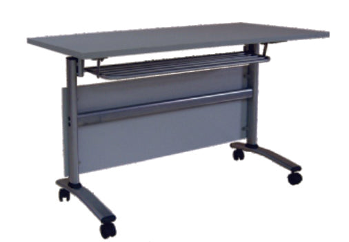 Mobile Flip Top Training Table with Shelf, 1200 mm Length, Light Gray Top