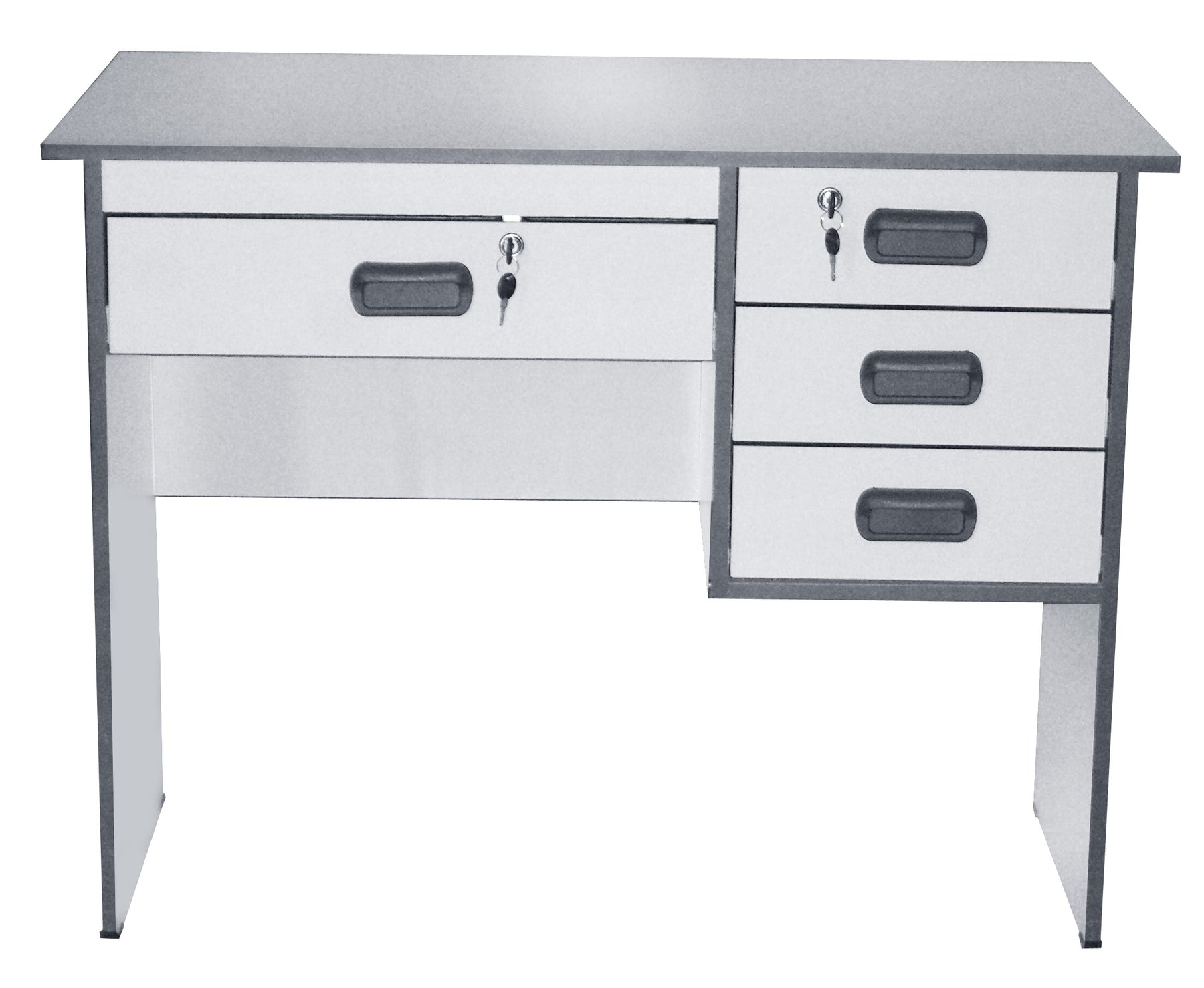 Office Computer Desk with Center and Three Side Drawers, Light Gray, 1 x 0.6 m