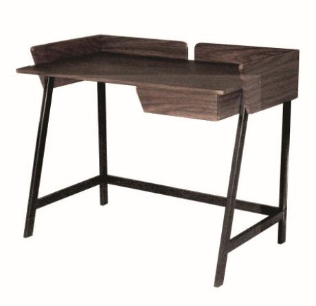 Modern Computer Table Black Metal Leg, Laminated Dark Walnut TableTop