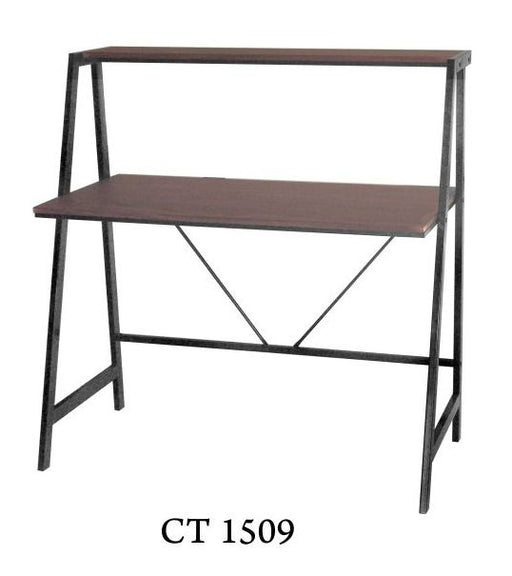 Sleek Computer Table in Black Steel Frame, Laminated Dark Walnut TableTop with Shelf Ledge