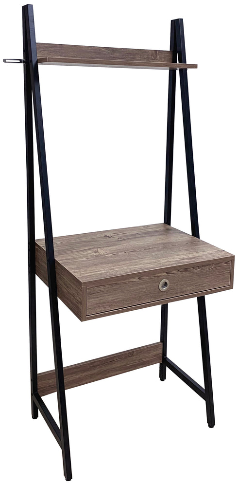 Computer Table Tower Type with Black Metal Frame; Medium Oak Color