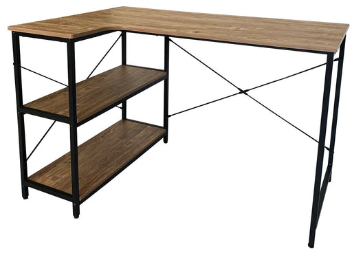 Modern Computer Table Black Metal Leg with Side Shelves; Medium Oak TableTop