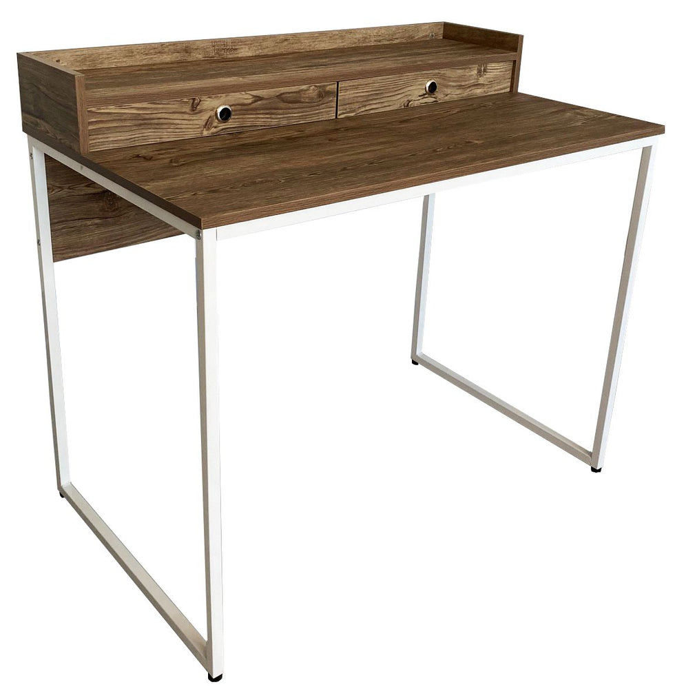 Computer Study Table in White Metal Frame with Drawers; Medium Oak Color
