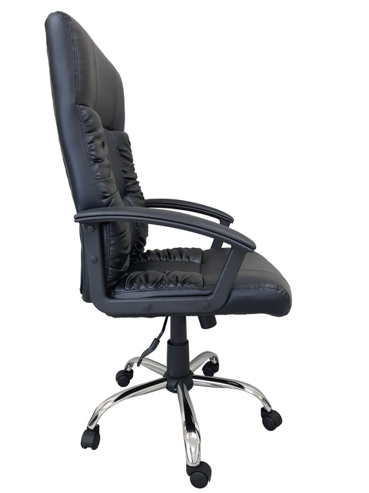 Manager Chair with Armrest and Chrome Base, PU Leather Black