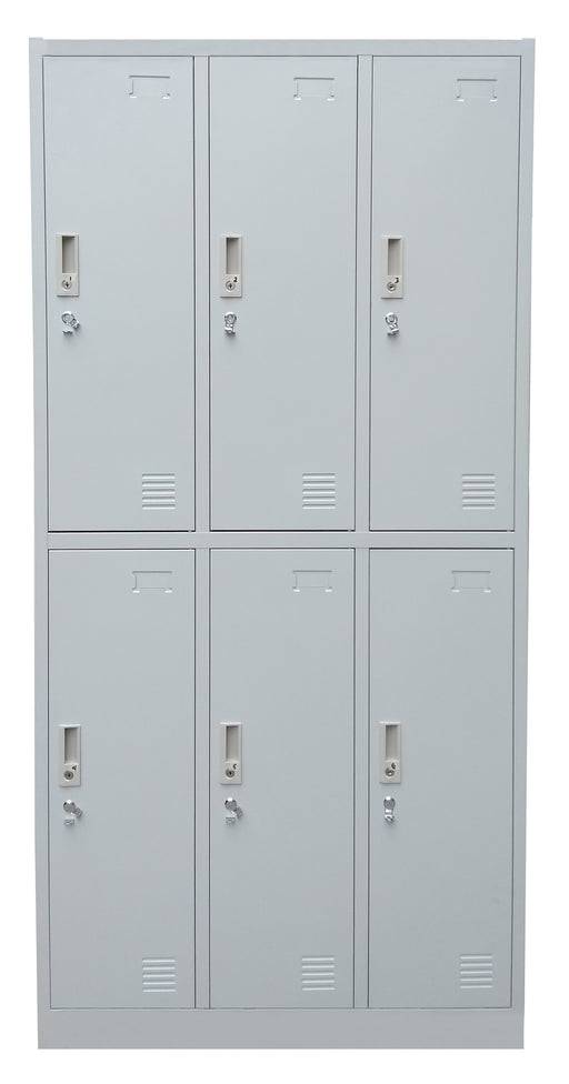 6 Door Steel Locker Cabinet with Padlock Hasp and Name Plate