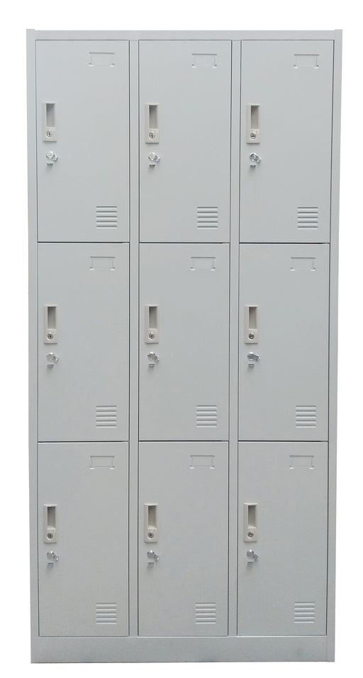 9 Door Metal Locker Cabinet with Provision for Padlock and Name Plate