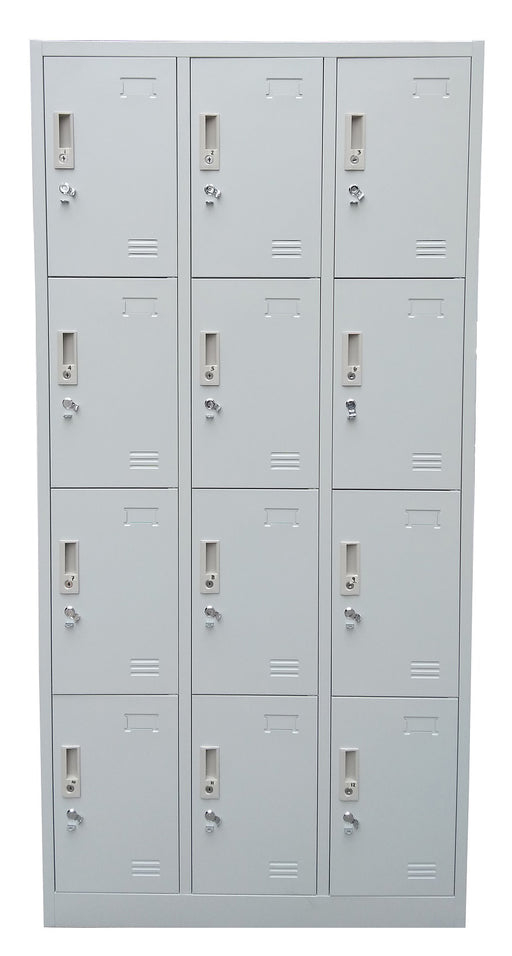 12 Door Metal Locker Cabinet with Padlock Hasp and Name Plate, Light Gray