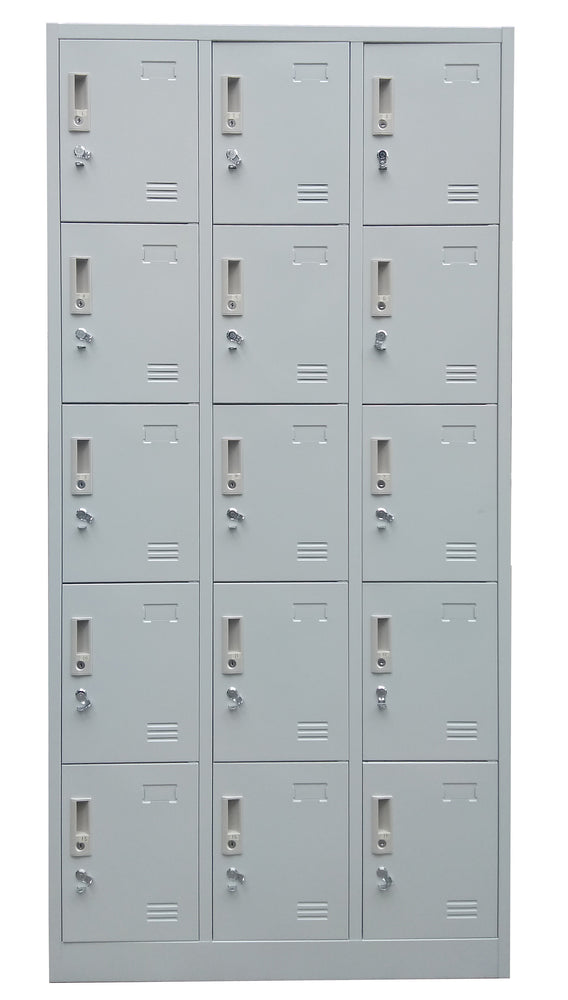 15 Door Metal Locker Cabinet with Padlock Hasp and Name Plate, Light Gray