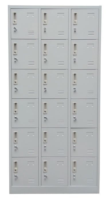 18 Door Locker Cabinet with Padlock Hasp and Name Plate, Light Gray