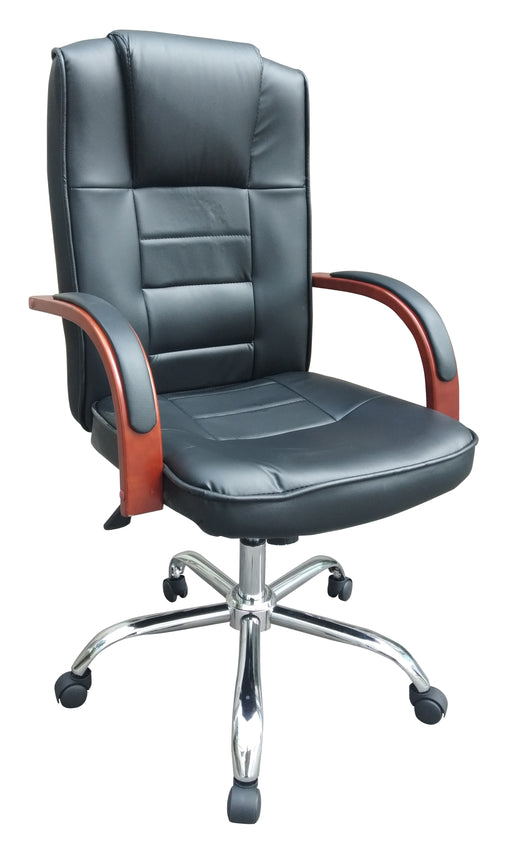 Highback PU Leather Executive Ergonomic Office Chair with Tilt Mechanism, Cherry Wood Armrest