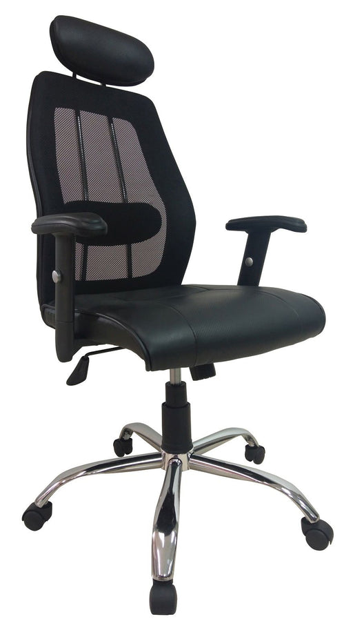 Highback PU Leather Executive Ergonomic Chair with Headrest, Mesh Back, Adjustable Armrest