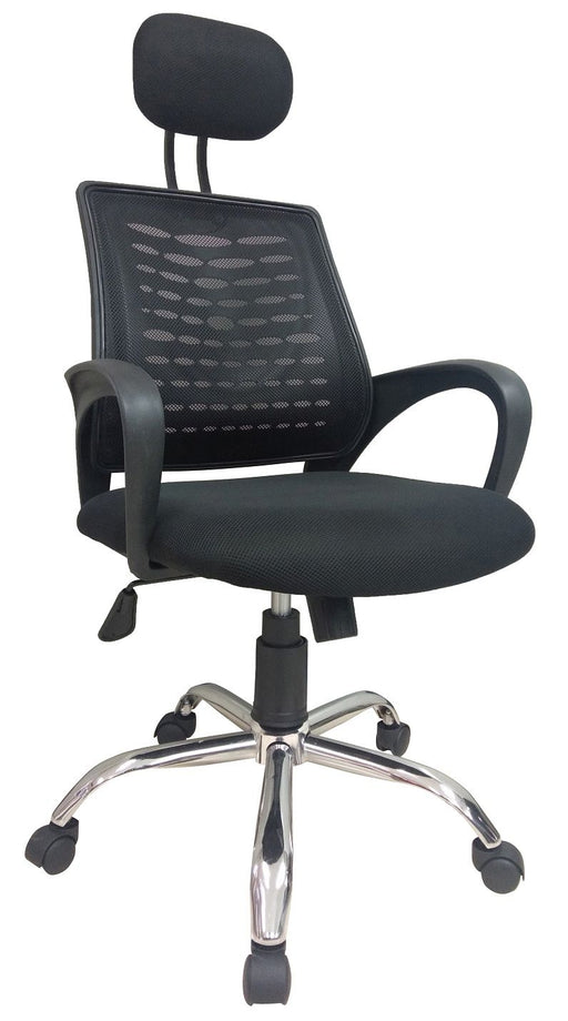 Mesh Office Midback Swivel Chair with Headrest and Back Support, Black