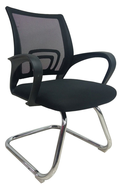 Mesh Sled Base Side Guest Chair with Armrest, Black