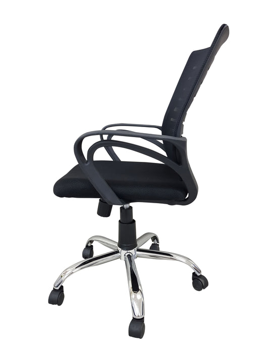 Mesh Office Midback Swivel Chair with Back Support, Black