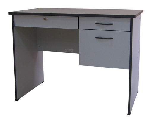 Modern Office Table with Center and 2 Side Drawers, PVC Edge, Light Grey Color