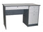 Office Desk with Center and 3 Side Drawers, Round Bullnose Edge, Combo Dark Gray / Light Gray