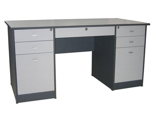 Managerial Desk with Center and 3 Side Drawers Each Side, Round Bullnose Edge, Combo Dark Gray / Light Gray
