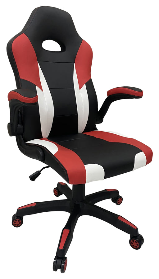 Gaming Chair in PU Leather Red or Blue; Adjustable Armrest