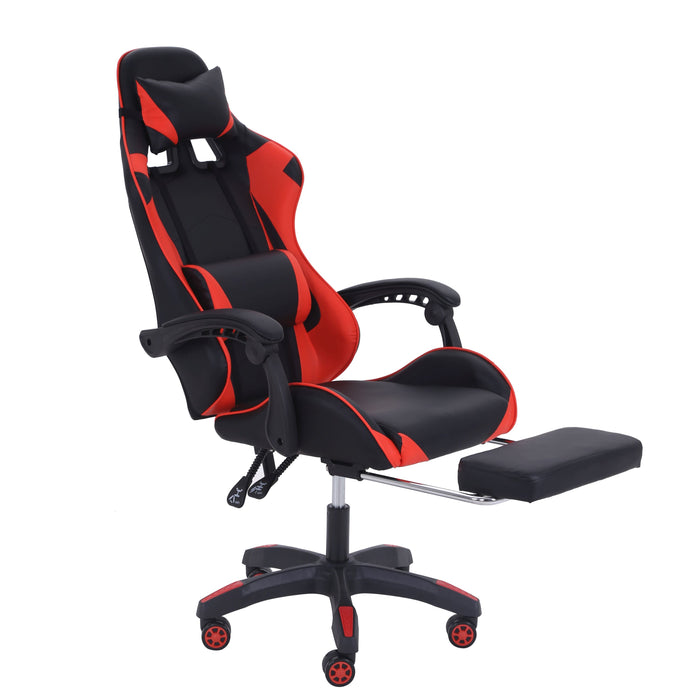 Gaming Chair with Footrest; PU Leather