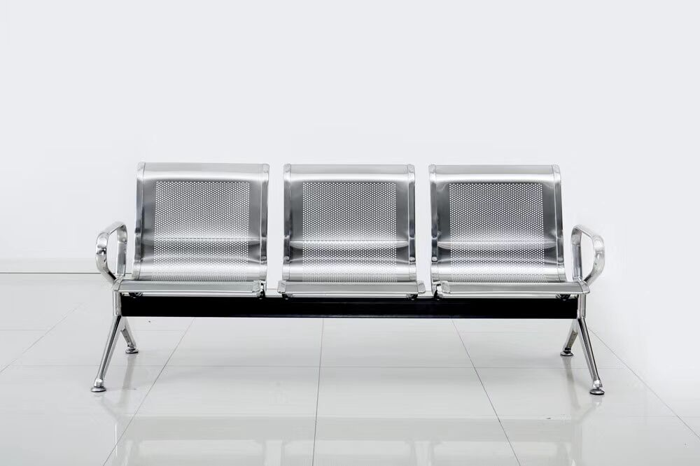 3 Seater Airport Gang Chair, Metal Stainless Steel