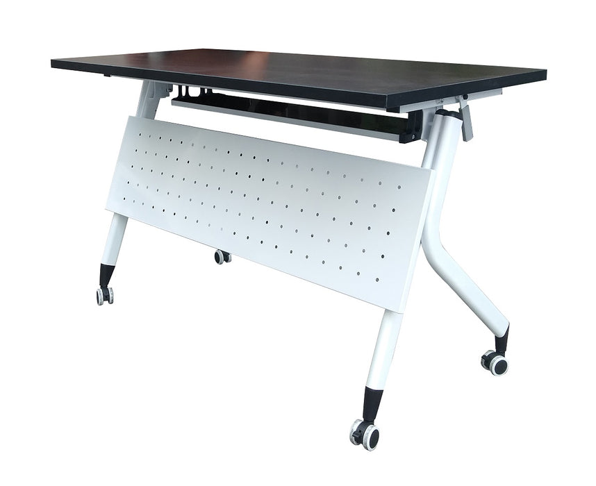 Mobile Flip Top Training Table with Shelf, 1200 mm Length