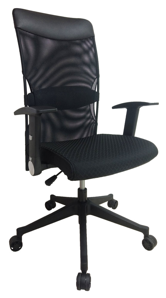Mesh High Back Swivel Office Chair, PU Leather Headrest and Fabric Seat, Black, Adjustable and Foldable Armrest