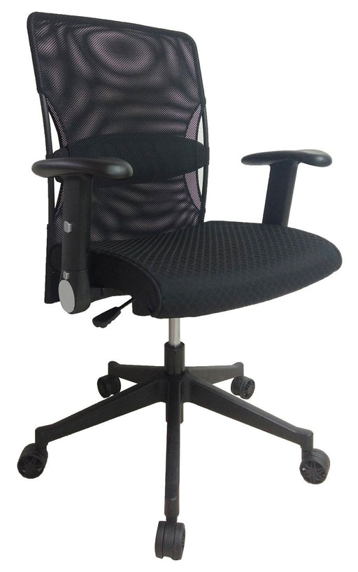 Mid Back Swivel Office Chair, PU Leather Headrest and Fabric Seat, Black, Adjustable and Foldable Armrest