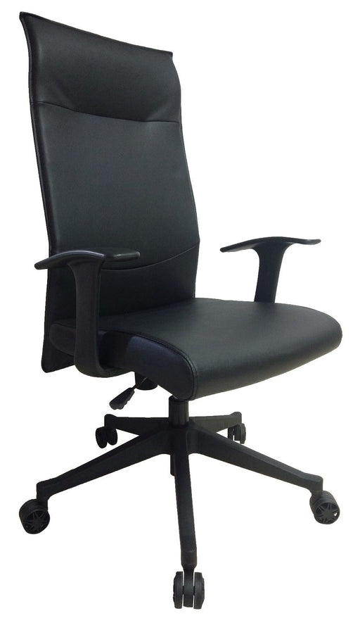 Executive High Back Swivel Office Chair, PU Leather Headrest and Seat, Black