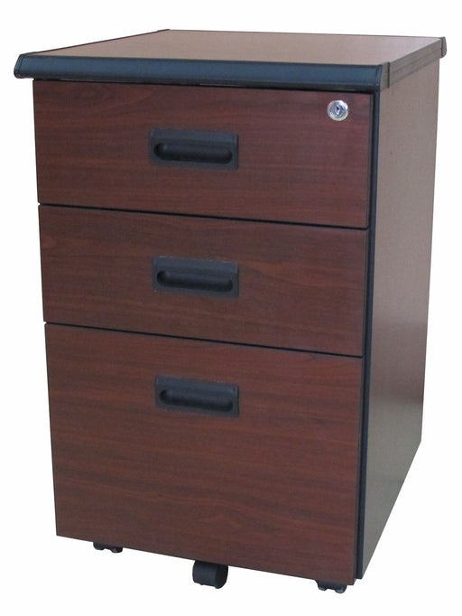 3 Drawer Mobile Pedestal in Cherry Walnut Laminated Finish with Central Lock, Flush Handle