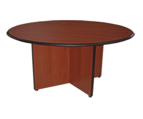 Round Laminated Meeting Table in Panel Legs for 4 Pax, Cherry Walnut Finish