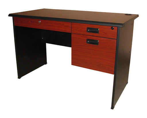 Modern Office Table with Center and 2 Side Drawers, Ducknose Edge