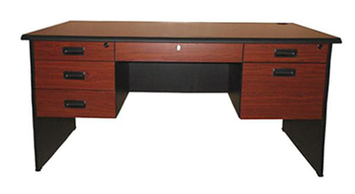 Modern Office Table with Center and Double Pedestal Drawers and Cabinet, Cherry Walnut