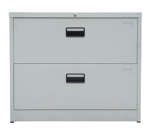 2 Drawer Steel Lateral Filing Cabinet, Light Gray