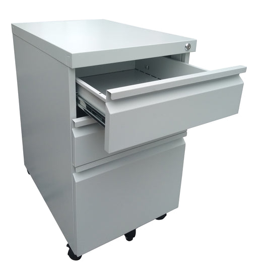 3 Drawer Steel Mobile Pedestal with Central Lock, Recessed Handle