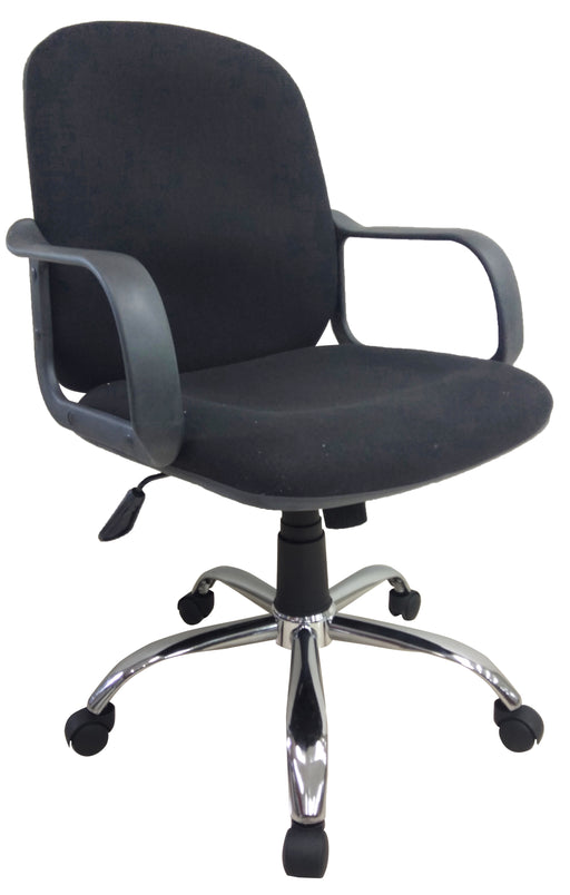 Midback Fabric Office Chair with Armrest, Black